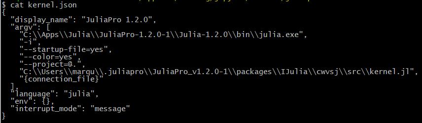 Jupyter Julia-1.2.0 Kernel.json After